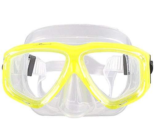 WOWDECOR Maschera Subacquea per Adulti e Bambini con Visione Corta, Maschera da Snorkeling Maschera Subacquea Dioptrin correzione diottrie, Giallo, -2,0