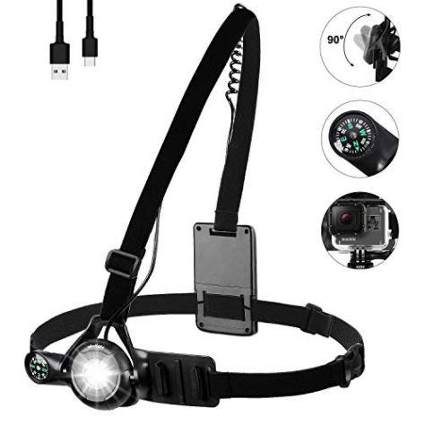 WESTLIGHT Lauflicht Leicht Brustlampe, 90° Einstellbarer Abstrahlwinkel Blinker,500 Lumen 3 Modi Wasserdicht USB Wiederaufladbare Running Light für Joggen, Gehen, Lesen, Campen,Klettern lauflampe