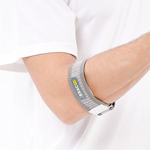 BRACOO Tennisarm Bandage - Golferarm Ellbogenbandage - Epicondylitis Spange | Ellenbogenbandage für Tennisarm mit EVA Kompressionskissen | EP40