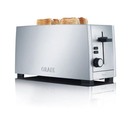 Gebr. Graef TO100EU 4 Scheiben Langschlitz Toaster, Edelstahl matt