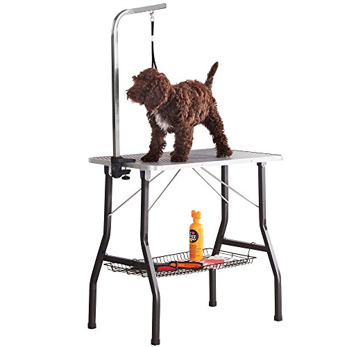 """Affordable and well- constructed, the Milo & Misty 30"""" Small Grooming Table is a top quality grooming table for pets. The table offers adequate room for grooming, it's very stable and can support much weight. It is a foldable table, which makes moving it around quite easy. Watch out for your back if you have injuries as the folded table is not as light as it seems. Just in case you need a table with more than one noose and roughly the same sized table, you can look at the BUNNY BUSINESS Adjustable Portable Stainless Steel Dog Grooming Table. Either way, your grooming sessions will be worth it."""