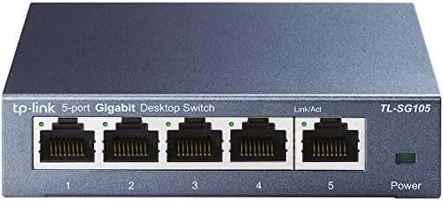 TP-Link TL-SG105 5-Ports Gigabit Netzwerk Switch (bis 2000 MBit/s, 10/100/1000Mbp, geschirmte RJ-45 Ports, Metallgehäuse, optimiert Datenverkehr, IGMP-Snooping, unmanaged, lüfterlos) blau metallic