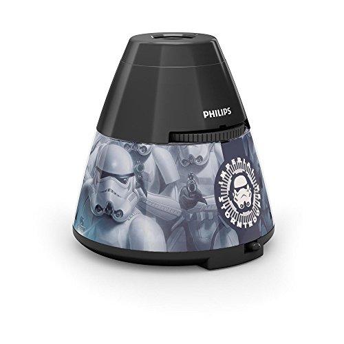 Philips Star Wars Soldado Imperial - Proyector y luz nocturna 2 en 1, luz blanca cálida, bombilla LED de 0,3 W, color negro