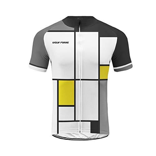 Uglyfrog Diversión Pintura a Cuadros Maillot Equipo de Ciclismo Hombre, MTB Triatlon Bicicleta Hombre, Camiseta Ciclismo con Mangas Cortas Verano