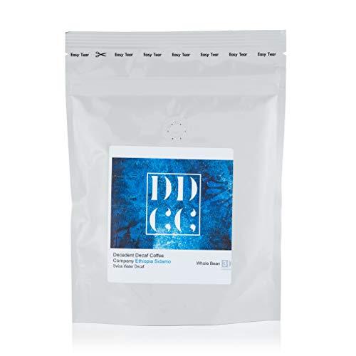 Koffeinfreier Sidamo-Kaffee aus Äthiopien, mittels Schweizer-Wasser-Prozess entkoffeiniert, Decadent Decaf Coffee Company, ganze Bohne, 227g