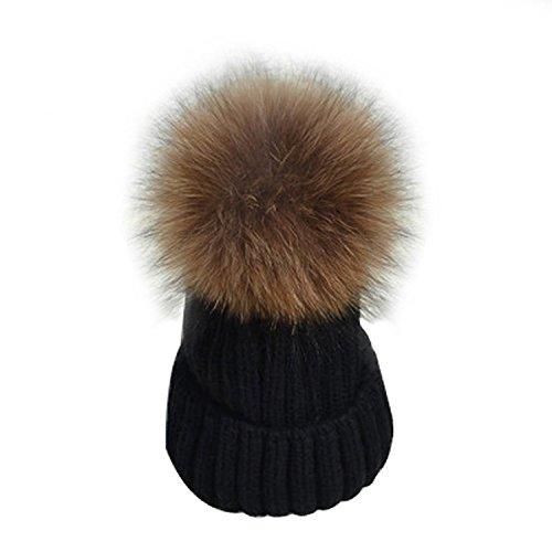 LadiesWomens-Girls-Winter-Hat-Cap-Knit-Beanie-Ski-with-Soft-Faux-Fur-Large-Pom-Pom-UK-Seller-Same-Day-Dispatch-BlackBlack-Pom-Pom-BlacKBrown
