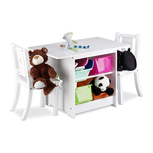 Relaxdays Set mobili per Bambini, con sedie, Modello Albus, con Spazio per stoccaggio, 1 Tavolo e 2...