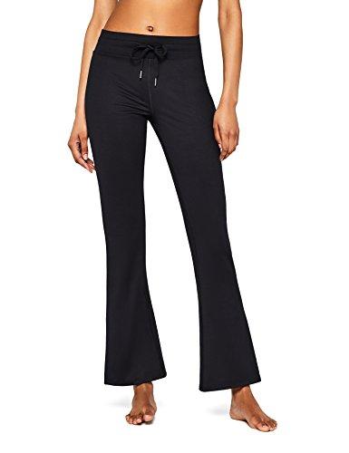 AURIQUE Pantalón de Yoga Mujer, Negro (Black), 42 (Talla del fabricante: Large)