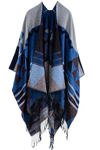 YACUN Damen Winter Reversible überdimensioniert Decke Poncho Cape Schal
