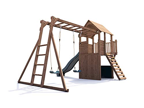 This in all-around play set with plenty of features for children of all ages and with various interests. With two swing seats, slide, monkey bars, tower balcony, climbing stones, and secret den, there's no end to outdoor fun with this one. The construction itself is strong with pressure-treated timber covered by a solid 10-year manufacturer's guarantee. An expensive unit but satisfaction guaranteed.