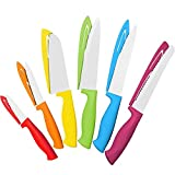 12 Piece Colourful Knife Set - 6 Kitchen Knives with 6 Knife Sheath Covers - Chef Knife Sets with Bread, Slicer, Santoku, Utility and Paring Knives - Coloured Knife Set by Cooler Kitchen