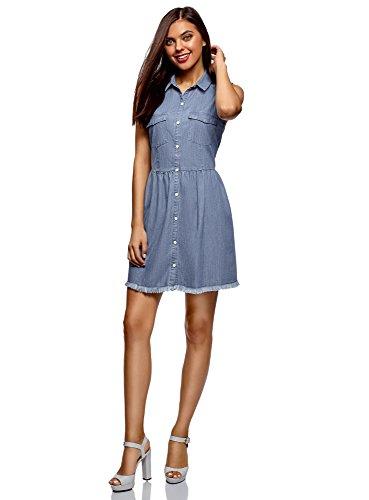 oodji Ultra Damen Jeans-Kleid mit Knöpfen, Blau, DE 36 / EU 38 / S