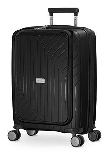 HAUPTSTADTKOFFER - TXL - leichtes Handgepäck mit Laptoptasche, Hartschalen-Trolley aus robustem Polypropylen, 55 cm, 40 L,TSA- Schloss, Schwarz