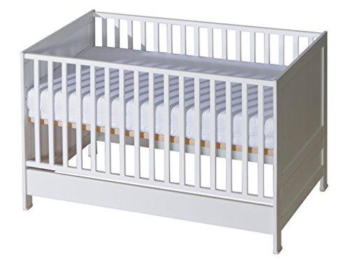 Belivin® 2in1 Babybett, Gitterbett 140x70cm weiß | umbaubar zum Juniorbett Jugendbett inkl. Matratze | mitwachsendes multifunktionelles Baby Bett Kinderbett | besonders stabil durch Buche Massivholz
