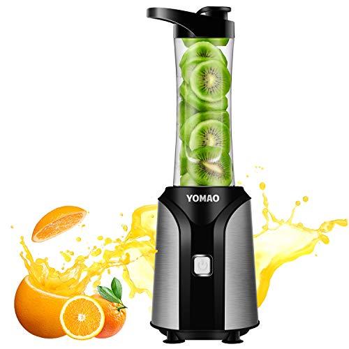 Yomao Mini Frullatore, Frutta Frullatore con BPA Free Bottiglia Portatile 600ml, 4 Lame in Acciaio Inox, Blender per Succhi, Cocktail (Argento & Nero)