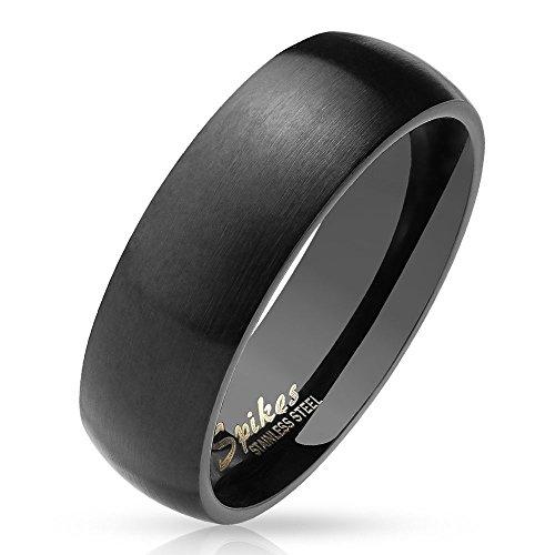 Bungsa 52 (16.6) schwarzer Ring für Damen & Herren - Schwarz - Damenring aus Edelstahl matt - Edler Edelstahlring geeignet als Verlobungsringe, Freundschaftsringe & Partnerringe
