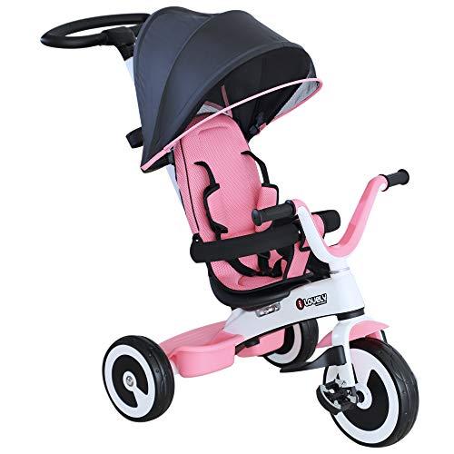 homcom Triciclo Passeggino per Bambini con Maniglione Tetto Parapioggia Regolabile Cestino Striscia...