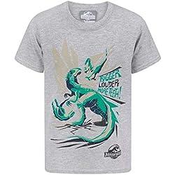 Jurassic World - Camiseta diseño Bigger Teeth para niños (7-8 Años/Gris)