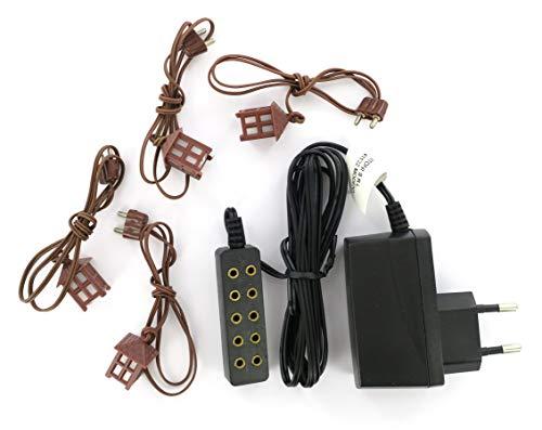 Bertoni trasformatore per 5uscite Steady Light con 4Lanterne in plastica, Legno, Multicolore, Taglia Unica