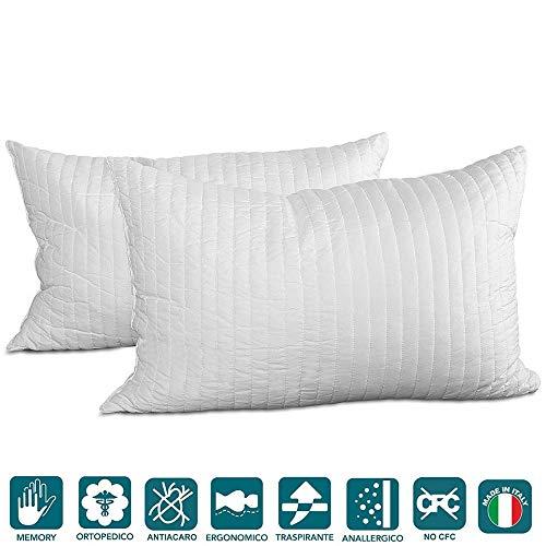 Evergreenweb - Coppia Cuscini 40x70 in Memory Foam da Letto o Arredo Divano alti 15 cm, 2 Guanciali...