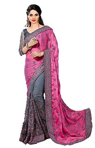 Sunshine Fashion Moss Chiffon, Mono Net Saree With Blouse Peice (Pink)