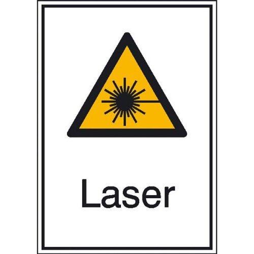 INDIGOS UG - Laser, Warnschild selbstklebende Folie, Größe 13,10x18,50 cm
