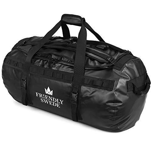 The Friendly Swede Wasserfeste Reisetasche - Duffle Bag Rucksack 30L / 60L / 90L - Seesack, Sporttasche - Duffel Dry Bag mit Rucksackfunktion - SANDHAMN (Schwarz 90L)