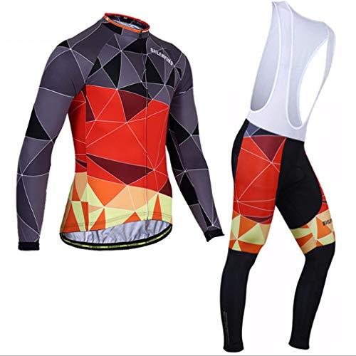 Xiaoping Traje de Ciclismo Traje de los Hombres Equipo de Montar en Bicicleta de montaña de Manga Larga Pantalones de Chaqueta Equipo Deportivo (Color : 6, Size : S)