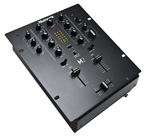 Numark M2 - 2-Kanal DJ-Scratch-Mischpult, rack-einbaufähig, mit 3-Band-Equalizer, für die Disco ausgelegten Eingängen, Mikrofon-Eingang, austauschbarem Crossfader und Reverse-/Slope-Reglern