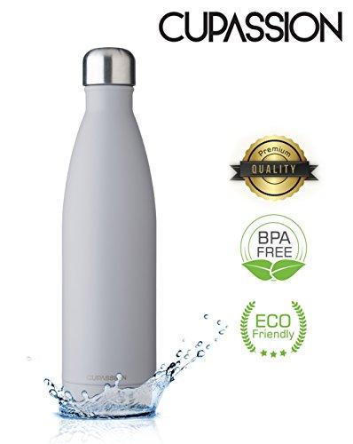 CUPASSION Evi Warm Grey - Edelstahl Vakuum Isolierflasche 500ml | Trinkflasche Wasserflasche | hält Getränke 18h heiß & 24h kalt | Thermosflasche & Thermoskanne |