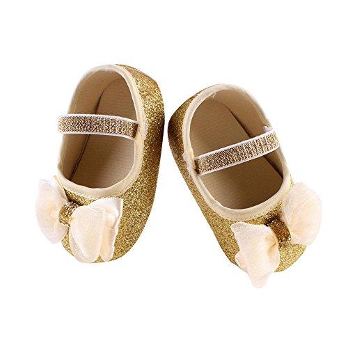 Reasoncool Pattini della Ragazza del Fiore del Bambino Sneaker Antiscivolo Mano Morbida Bambino Calza + 1pc Hairband (0-6M, Oro)
