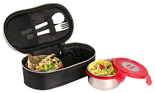 Cello Max Fresh Click Steel Lunch Box Set, 300ml, Set of 2, Red