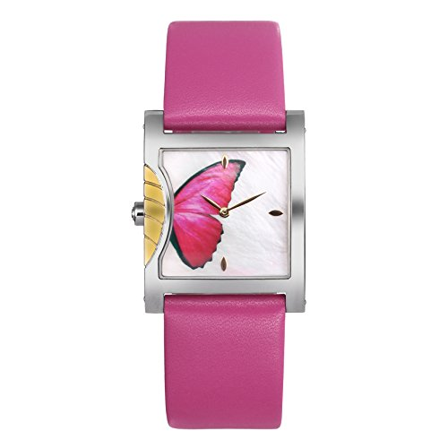 Time100 Manera de la Mariposa de la joyería de la Pulsera de la Caja de Regalo de Lujo de la Esfera de la Correa de Cuero de los Relojes de Pareja