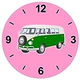 """Glasuhr Ø 20cm """"VAN- WOHNMOBIL- AUTO- AUTOMOBIL- OLDTIMER- GRÜN- BULLY- KULT AUTO"""" in Pink - aus Glas- Wand Uhr- Regaluhr- Bestseller- Spass- Kult- Motiv Geschenkidee Ostern Weihnachten"""
