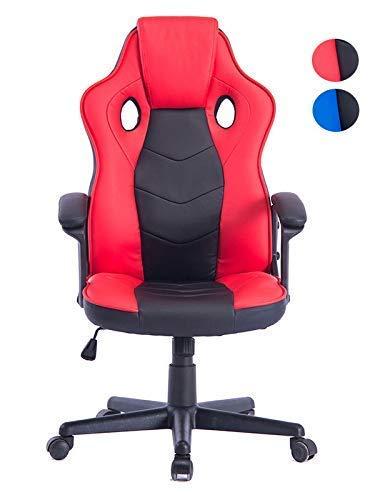 HOGAR 24 ES 2540 - Sedia da Gaming da Ufficio ergonomica per Gamer Speciale Videogiochi in Pelle Sintetica Imbottita. Altezza e inclinazione Regolabili. Colore Nero-Rosso.