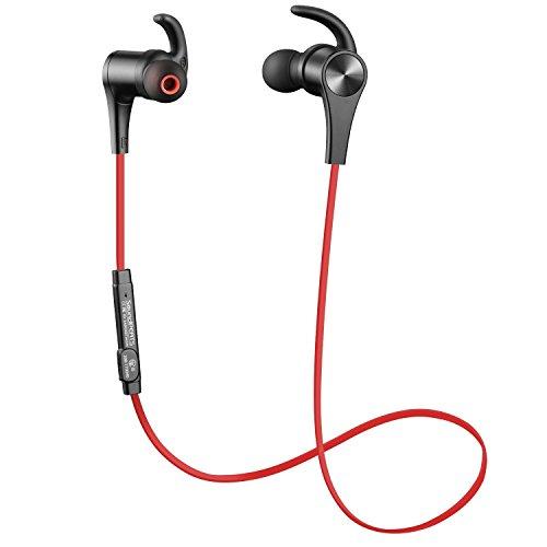 Auricular magnético SoundPEATS Auriculares Bluetooth 4.1 Cascos inálambrico Deportivos, tecnología APTX y de Ruido de Cancelación CVC 6.0,Sonido Estéreo de calidad superior--(Rojo)