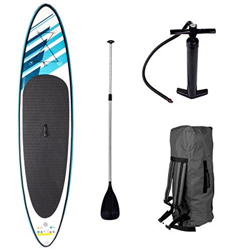 SUP Board Stand up Paddling Surfboard'Shark' 320x76x15cm aufblasbar Double-Layer Alu-Paddel Hochdruck-Pumpe Transportrucksack 130KG Tragkraft
