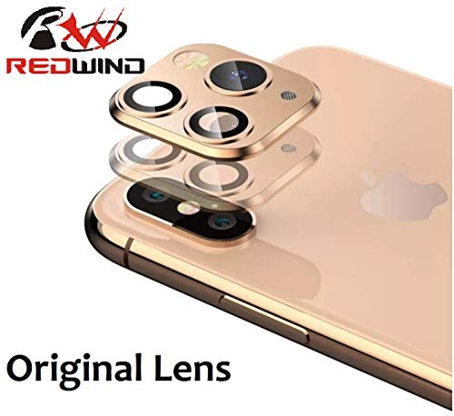 REDWIND Upgrade Camera Lens Protector Film for iPhone X/XS/XS Max, Easy to Change Camera Lens to iPhone 11/11Pro/11Pro Max, Tempered Glass Back Camera Lens Protective Cover(Gold)