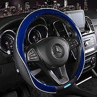 Nikavi Car Steering Wheel Cover - Microfiber Leather, Breathable, Anti Slip Universal Steering Wheel Productor (Blue)