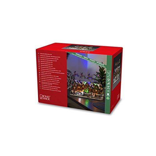 """Konstsmide, 4216-000, LED Szenerie \""""Weihnachtsdorf mit bewegten Rentieren\"""" und 8 klassischen Weihnachtsliedern , 12 bunte Dioden, 4.5V_Innentrafo"""