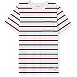 TWOTHIRDS Men's T-Shirt - 100% Organic Cotton - Duyong (Small, Stripes Burgundy)
