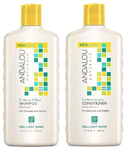 Andalou Naturals Sunflower and Citrus Brilliant Shine Shampoo and Conditioner Bundle With Fruit Stem Cell Serum, Vitamin E, Acai, Goji Berry and Rosehips, Sulfate Free and Color Safe, 8 fl. oz. each