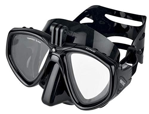 Seac One PRO Maschera da Sub con Supporto per videocamera GoPro per Immersioni subacquee e Snorkeling, Nero, Standard