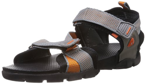 Sparx Men's Grey and Orange Sandals and Floaters - 8 UK