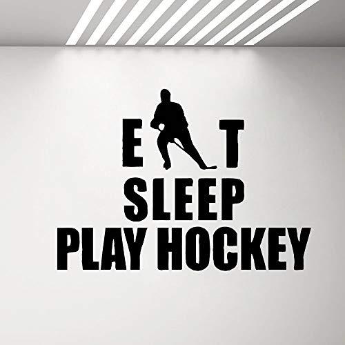 Hockey Eat Sleep Adesivo Adesivi Citazioni Camera da letto Hockey su ghiaccio Sport Gioco di squadra...