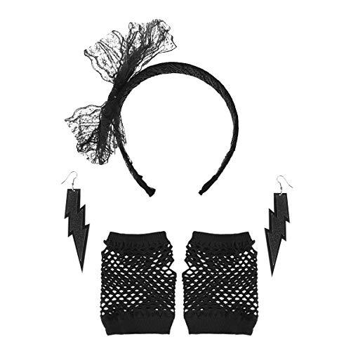 TOYANDONA 2 Sets 80s Accessori Costume orecchino Fascia orecchino Guanti da Pesca per Le Donne...