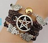 Brazalete con alas de ángel, ala, búhos, estrella, símbolos paganos y de la wicca, de Dean Winchester en Supernatural, regalo de amistad o de dama de honor