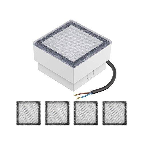 parlat LED Pflasterstein Wegeleuchte CUS, 10x10cm, 230V, kalt-weiß, 5 STK.