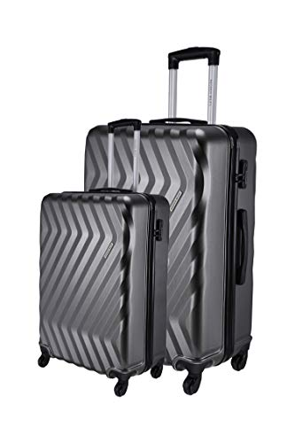 Nasher Miles Lombard Soft-Side Luggage Set of 2 Grey Trolley Bags (55 & 65 cm)