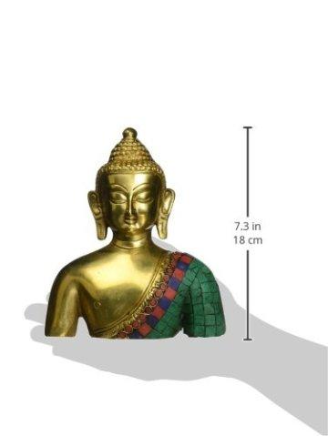 ShalinIndia Busto de Buda Estatua Latón Metal Budista de colores decoración 7,5pulgadas 5